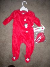 Vitamins Baby red velour footed holiday onesie with matching hat 3-6 mo NEW