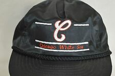 Chicago White Sox 80's Black Nylon Baseball Cap Adjustable Zip Back Hat Vintage