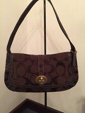 Authentic Coach #11257 Ergo Dark Brown Jacquard Signature Shoulderbag