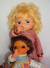 Vintage Anime Big Eye Sekiguchi Doll Blonde Hair Red Dress Sucks Thumb - 2 Dolls