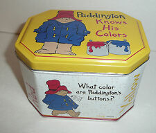 Vintage Paddington Knows His Colors Tin Container - Bear 1997