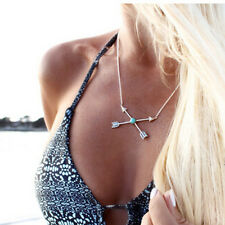 Ethnic Bohemia Gypsy Turquoise Silver Necklace Arrow Cross Pendant Vintage Chain