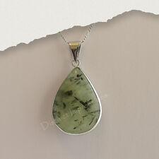 Powerful Unique Green Prehnite Pendant Set in Silver