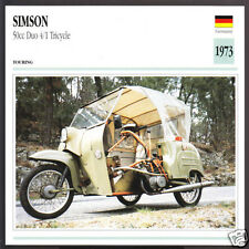 1973 Simson 50cc Duo 4/1 Tricycle (49cc) Motorcycle Photo Spec Sheet Info Card