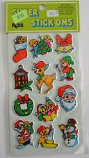 Vintage 70s Stickers Russ Berrie Santa Rudolph Frosty Xmas Puffy Mint Condition