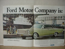 1965 Ford Galaxie 500 LTD Car Showboat Double Page Vintage Print Ad 10354