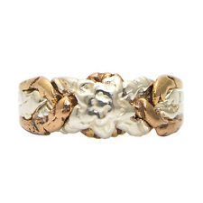 925k Sterling Silver and Bronze 4 Band Turkish Rose Design Puzzle Ring