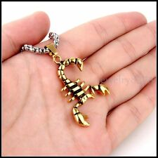 Mens Stainless Steel Gold Black Casting Scorpion Chain Pendant 24inch Necklace