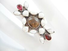 Vintage Sterling Silver Pearl Garnet Smokey Quartz Large Ring Sz 5.75 #2286