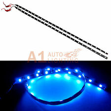 "2x NEW 60cm/24"" Blue High Power Bright Flexible LED Car Strips 12V 5050 24SMD"