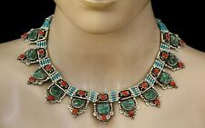 Sterling Silver Necklace Ethnic Handmade Tibetan Turquoise coral Tribal CM9