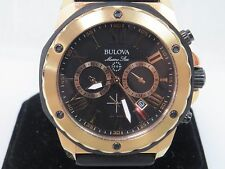 Men's Bulova Watch 98B104 Marine Star Black Dial Rose Gold Chronograph Watch