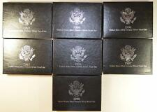1992 - 1998 COMPLETE RUN BLACK BOX SILVER PREMIER PROOF SETS