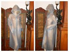 Vtg L Clear blue PVC Vinyl Raincoat Big Hood Heavy Rain Jacket Slicker Trench
