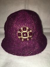 Auth. Chanel Plum  Tweed Gripoix Jeweled Hat