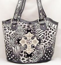 Western Rhinestone Cowboy Purse Cross Stud BagTote  White Black 59SP (NEW)