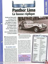 Panther Lima 4 Cyl.  Vauxhall 1976 UK Great Britain Car Auto Retro FICHE FRANCE