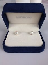 MIKIMOTO Pearl Stud Earrings 18k White Gold 7-7.5mm A+