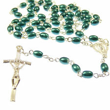 Green Blue Catholic rosary beads silver Papal crucifix prayer gift necklace