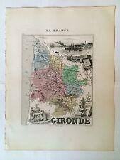 GRAVURE DEPARTEMENT 33 GIRONDE 1872 MIGEON CARTE MAP
