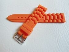 Silikon Ersatz Uhrenarmband Uhr Armband Silicon Rubber Watch Strap orange 20 mm