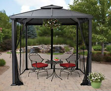 Metal Roof Gazebo with Netting Hard Top Pergola Canopy 8'x8' Patio Yard Shelter