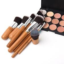 15 Colors Face Concealer Camouflage Cream Contour Palette 11PC Bamboo Brush Set