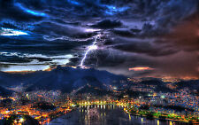 Framed Print - Massive Lighting Bolt Striking a Mountain City (Picture Poster)
