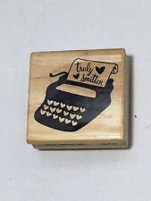 CRAFTSMART Wood mounted Rubber Stamp Valentines Typewritter Truly Smitten2x2 NEW