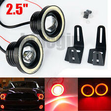 2.5'' 64mm Voiture LED COB Feux Brouillard Lampe Lens DRL Angel Eye Halo Rouge