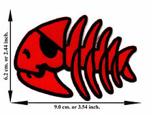 Red Fish Skull Pirate Bone Skeleton Emo Punk Chopper Logo Applique Iron on Patch