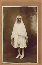 Carte Photo vintage card RPPC Charleroi Couillet jeune fille communiante kh0147
