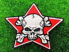 RED STAR PIRATE SKULL CROSSED SWORDS EMBROIDERED IRON ON PATCH
