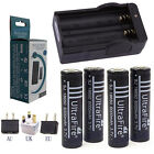 4x 6000mAh 18650 Rechargeable li-ion Battery For LED Torch Flashlight+DA Charger