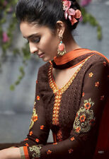 Designer Pure Georgette Salwar Kameez Brown Color Best Quality Party Wear Suit