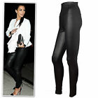 New black textured high waist leather look leggings