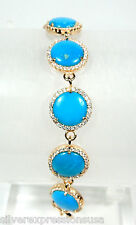 American Sleeping Beauty Turquoise Rose Gold Plated 925 Sterling Silver Bracelet