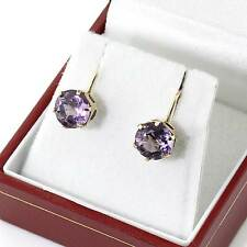 Quality Vintage Hallmarked 1968 9ct Gold Amethyst Stud Screw Earrings Gift Boxed