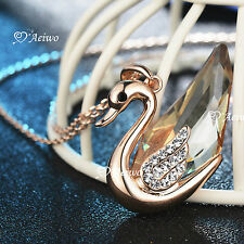 18K ROSE GOLD GF SWAROVSKI CRYSTAL SWAN PENDANT NECKLACE