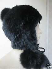 free shipping /real fox balls Fashion  knitted mink Ear protection hat/black