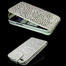 LUXUS  Strass Flip Tasche Cover iPhone 4 iPhone 4S Bling Case Hülle Silber