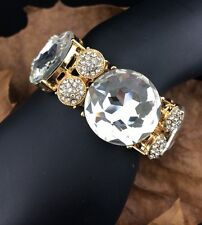 Pageant Queen Big Ice Stone Pave Clear Crystal Strand Stretch Statement Bracelet
