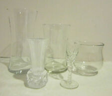 "Vintage lot of 5 clear glass flower & bud vases 4"" - 8"" high EC"