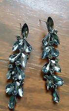 "3""Crystal Stones Teardrop dangle Grey Pewter Earrings drag queen beauty pageant"