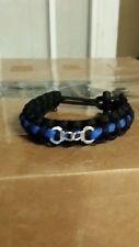 Thin Blue line handcuff paracord bracelet adjustable!