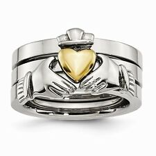 CHISEL BRAND  STAINLESS STEEL CLADDAGH 3 PIECE  WEDDING BAND / RING- SIZE 9