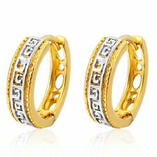 Charm White/Yellow Gold Filled Womens Vintage Openwork Hollow Hoop Earrings