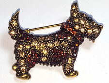Vintage Art Deco Paste Set Scottie Dog Brooch