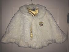Size 5/6 Disney Store Exclusive Girls Winter White Faux Fur Cape Shawl