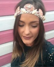 Dusky Rose Gold Diamond Pearl Shell Crown Hair Head Band Choochie Mermaid Boho